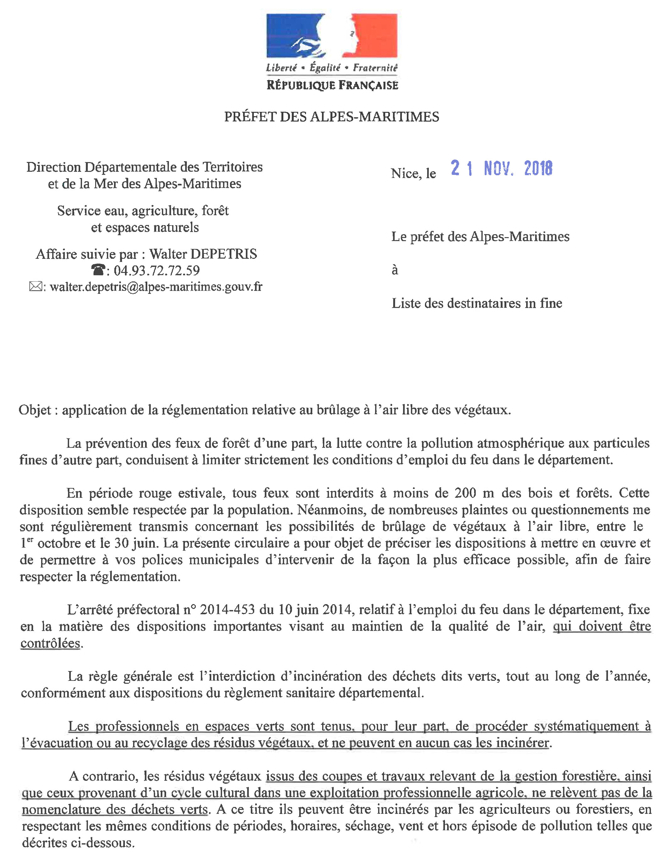 20181123 Application de la reglementation relative au brulage a l air libre des vegetaux 1